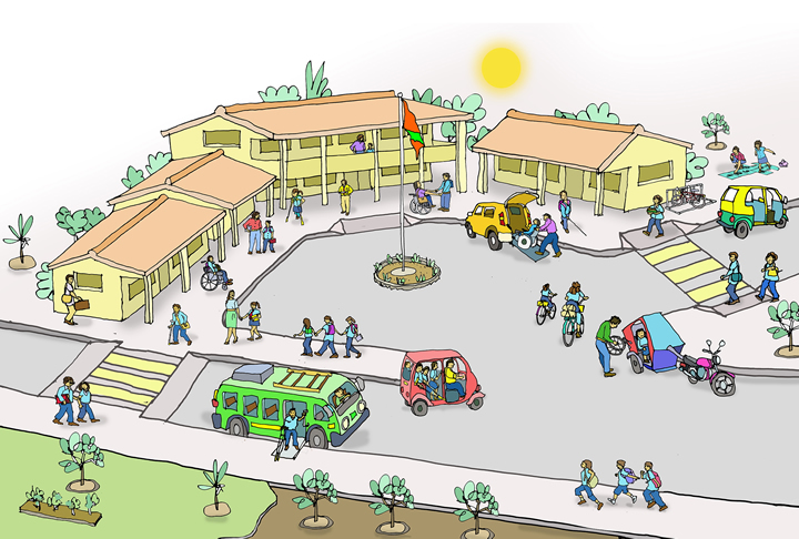 Drawing of students arriving at school via accessible transport